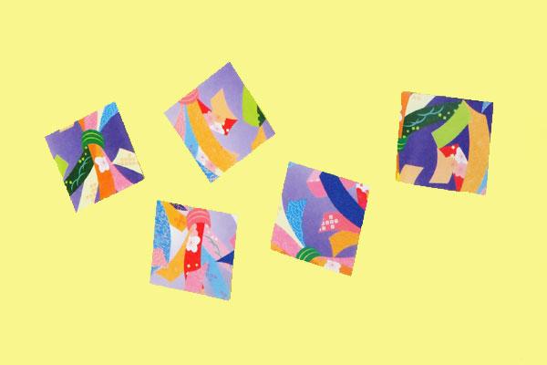 (3/4)千代紙を切って飾りのパーツをつくる。