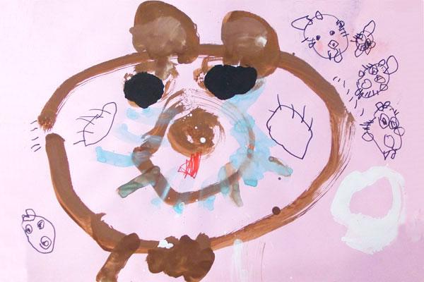 お話の絵「おおかみと7ひきのこやぎ」(3歳児)