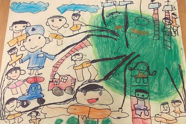 お話の絵「おおきなキャベツ」(5歳児)