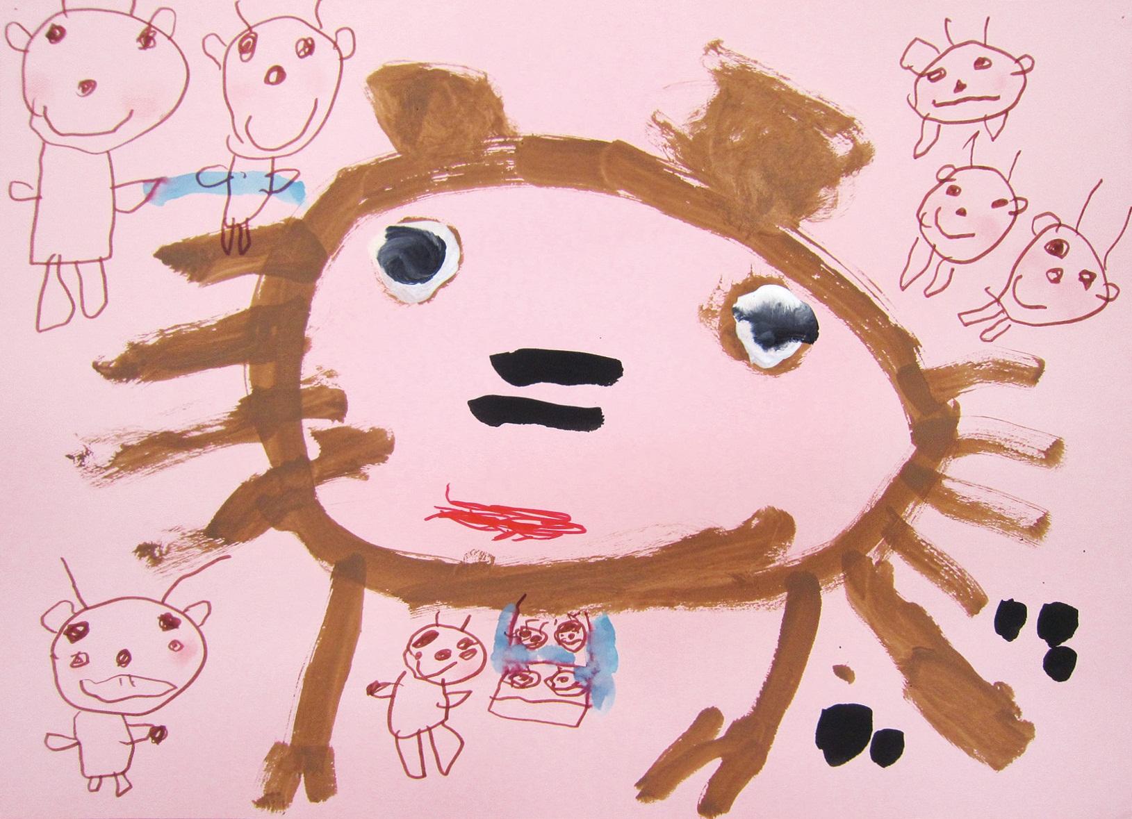 お話の絵「おおかみと7匹のこやぎ」(3歳児)