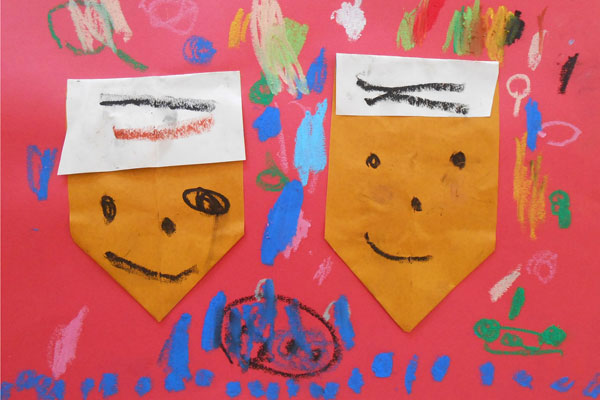 折り紙「どんぐり」(3歳児)