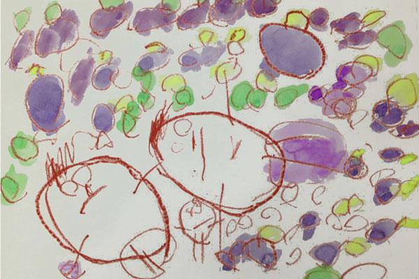 絵画「ぶどうがり」(4歳児)
