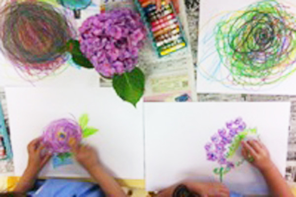 あじさいを描こう(4歳児)