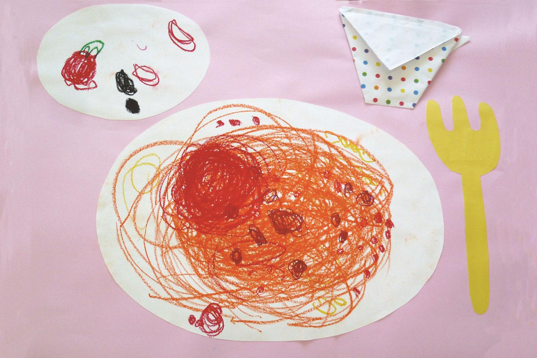 スパゲッティ製作遊び(4歳児)
