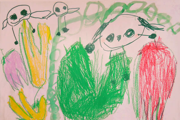 お話の絵「おやゆびひめ」(4歳児)