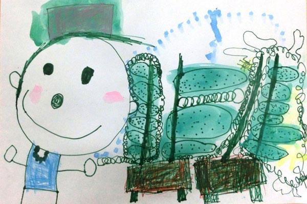 生活画「きゅうり大きくなったよ」(4歳児)