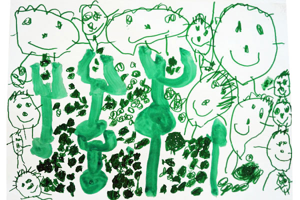 行事画「玉入れ」(4歳児)