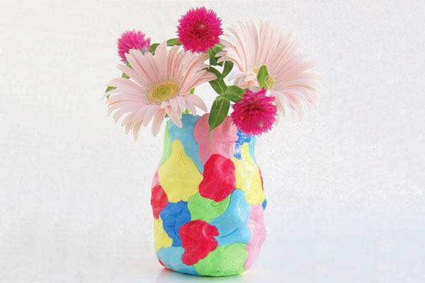 紙粘土でカラフル花瓶をつくろう(2歳児,3歳児,4歳児,5歳児)