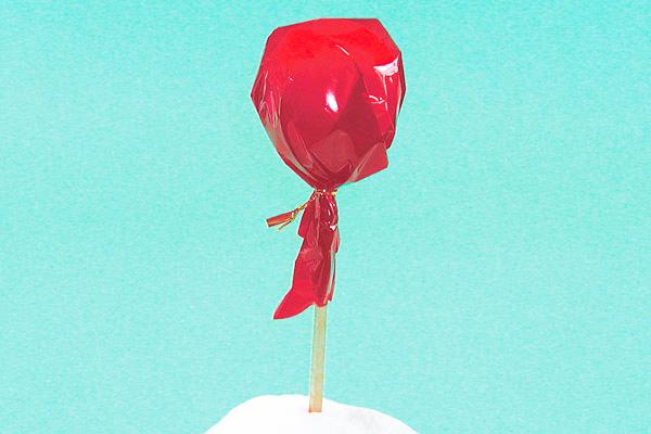 お祭りのお店屋さん「りんごあめ」製作(2歳児,3歳児,4歳児,5歳児)