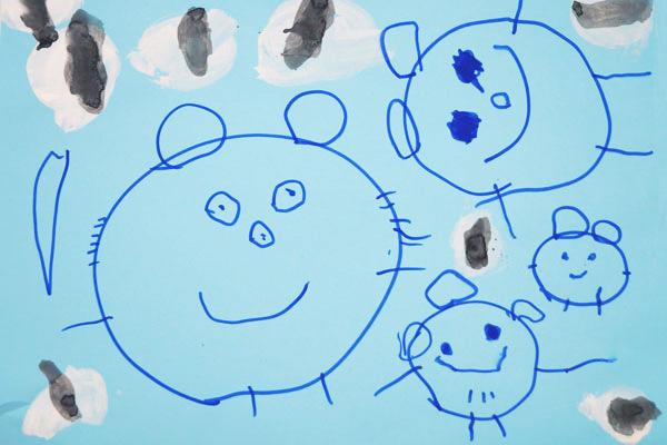 お話の絵「おむすびころりん」②(3歳児)