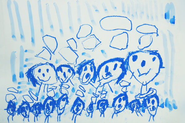 生活画「雨の日のお散歩」 (3歳児)