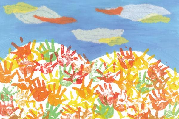 手でスタンピングをして紅葉を描こう(1歳児,2歳児)