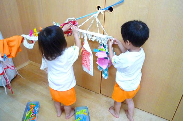 洗濯ごっこ遊び(2歳児)