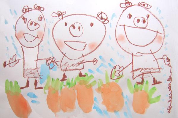 お話の絵「にんじんばたけのパピプペポ」(4歳児)