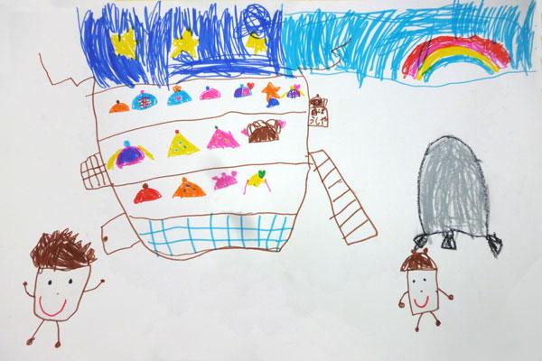 お話の絵「どんぐりむらのぼうしやさん」(5歳児)