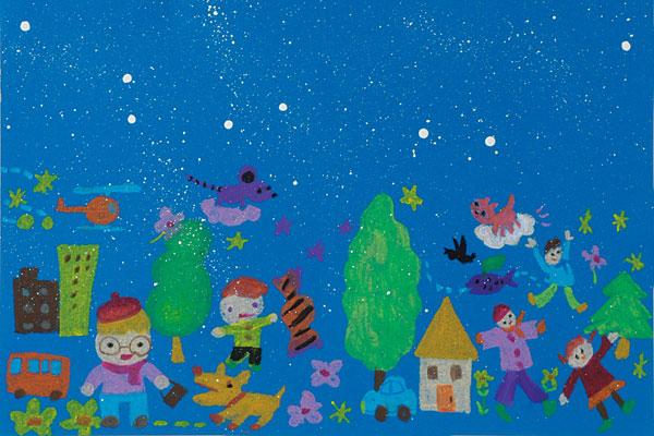 絵に雪を降らせよう(3,4歳児)
