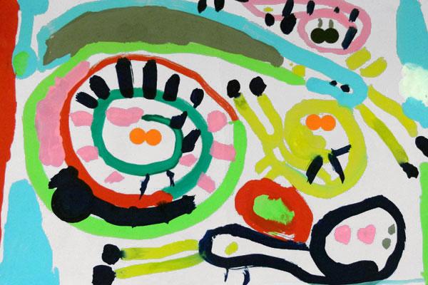 絵の具との出会いを楽しむ③「おしゃれなカタツムリ」(4歳児)