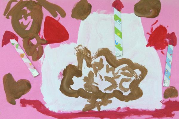 絵の具との出会いを楽しむ④「お誕生日ケーキをつくろう!」(4歳児)
