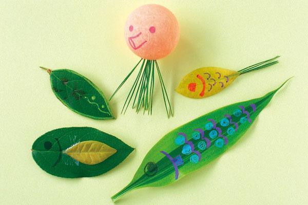 葉っぱで魚釣り遊び(4歳児,5歳児)