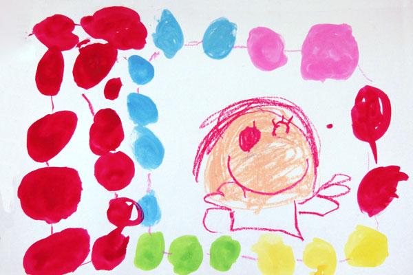 絵の具との出会いを楽しむ①「素敵なネックレス」(4歳児)