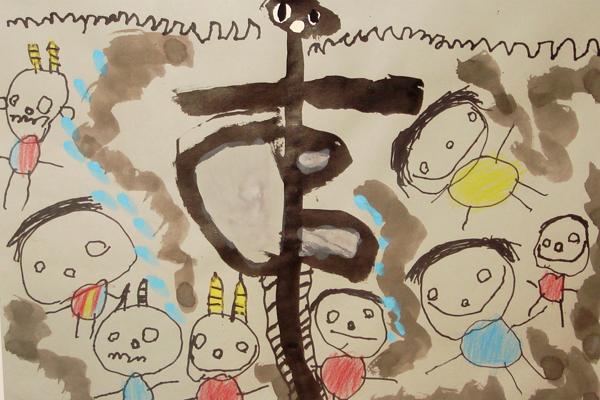 お話の絵「もくべえのうなぎのぼり」(4歳児)