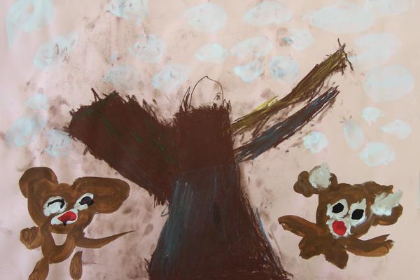 お話の絵「森のセーター」(4歳児)