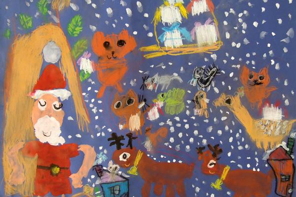 お話の絵「サンタおじさんのいねむり」(5歳児)