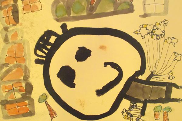 お話の絵「かもとりごんべえ」(5歳児)