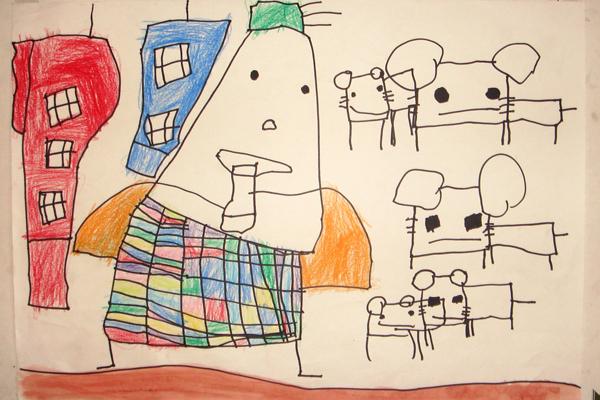 お話の絵「ハーメルンのふえふき」(4歳児)