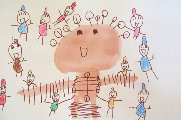お話の絵「ガリバーのぼうけん」(4歳児)