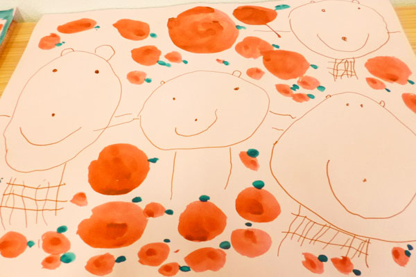 お話の絵「ジャッキーのトマトづくり」(3歳児)