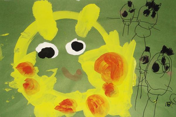 行事画「キリンさんみたよ」(3歳児)
