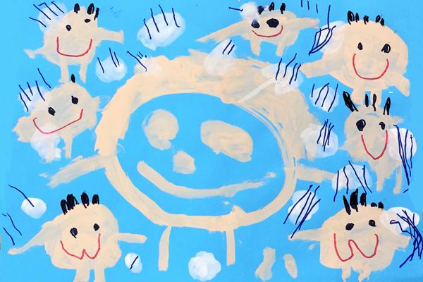 生活画「シャンプーしたよ」(3歳児)