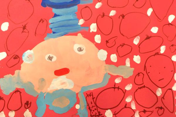 お話の絵「おねぼうサンタのクリスマス」(3歳児)