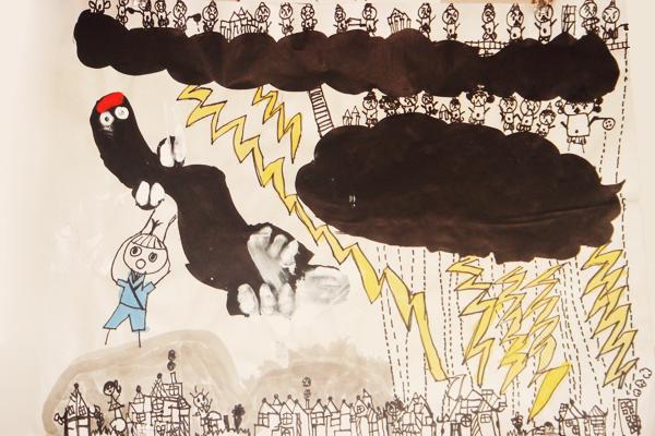 お話の絵「もくべえのうなぎのぼり」(5歳児)