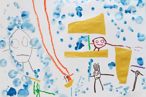 自由画「だれのかさ?」(3歳児,4歳児)