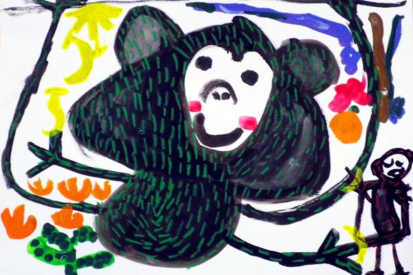 おサルさん(ゴリラ)の絵(4,5歳児)