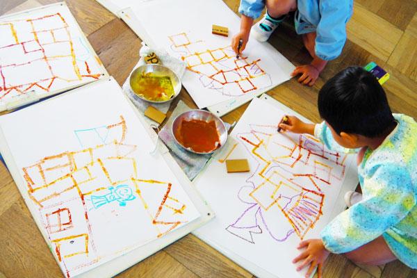 ダンボールスタンプであそぼう(3歳児,4歳児,5歳児)