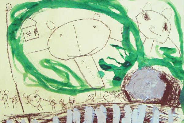 お話の絵「14ひきのやまいも」(4歳児)