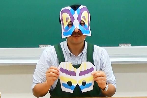 お面をつくってあそぼう(2)デカルコマニーの目かずら仮面
