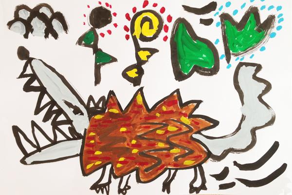 お話の絵「オオカミのともだち」(5歳児)