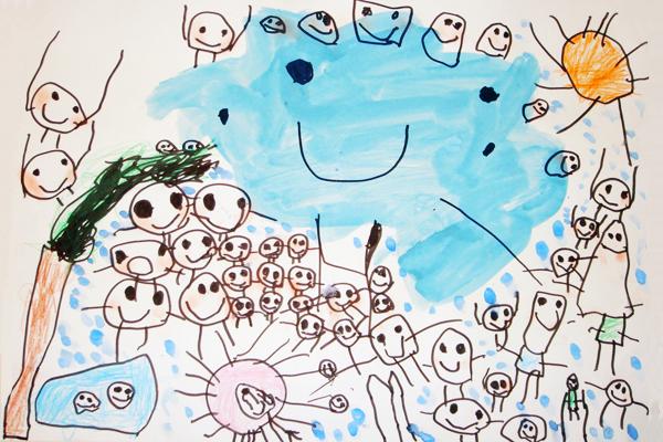 お話の絵「しずくのぼうけん」(4歳児)