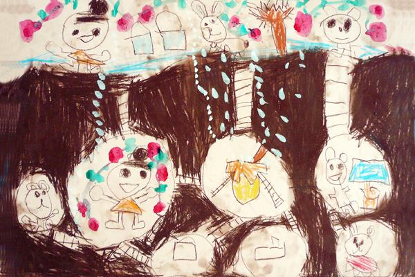 お話の絵「いちごばたけのちいさなおばあさん」(5歳児)