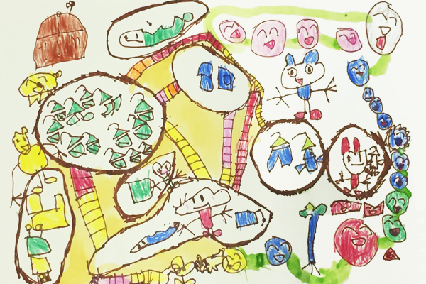 お話の絵「ググさんのあかいボタン」(5歳児)