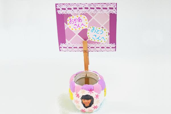 粘土で飾る小物入れ(5歳児)