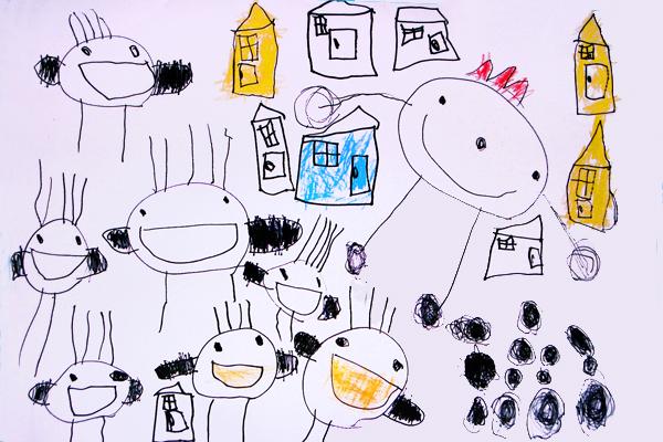 お話の絵「おしゃべりなたまごやき」(4歳児)