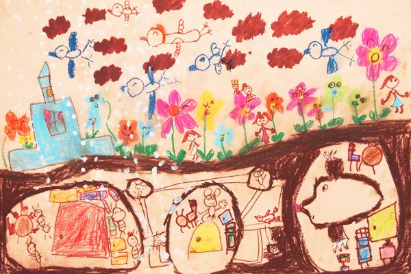 お話の絵「おやゆびひめ」(5歳児)
