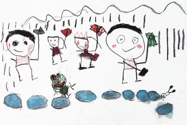 生活画「あめふり」(5歳児)