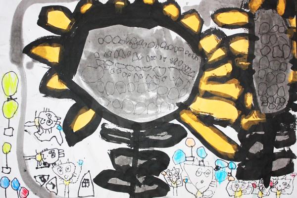 お話の絵「花いっぱいになあれ」(5歳児)
