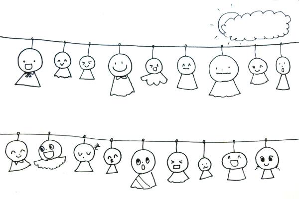 ○と△で てるてるぼうずを描こう(5歳児)